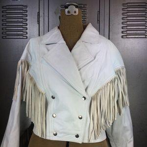 654f91952 Vintage Women's White Leather Fringed Jacket.